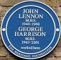 Image for John Lennon & George Harrison Blue Plaque - Baker Street, London, UK