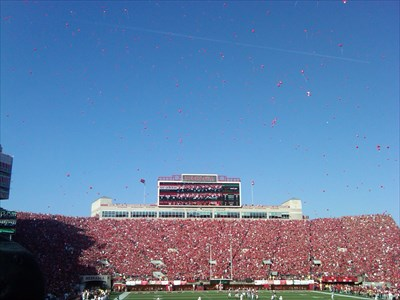 One tradition in Memorial stadium is the release of red balloons by the fans, to signify the Cornhuskers first score of the game.