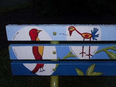 Photo gros plan des oiseaux peint. Photo close-up of painted birds.
