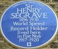 Image for Sir Henry Segrave - Chiltern Street, London, UK