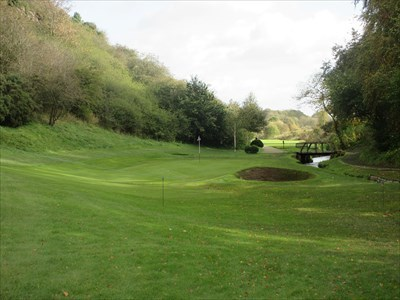 The green on the short seventh, with the burn to the right.