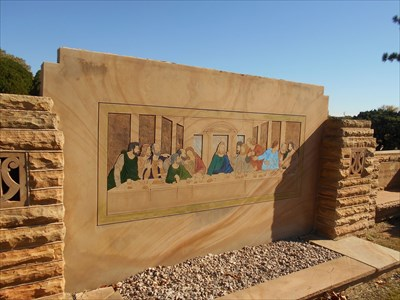 The Last Supper mural nearby.