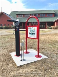Bicycle Repair Station with Visitor's Center - Blackstone River Bikeway at I-295 North in Lincoln, Rhode Island.