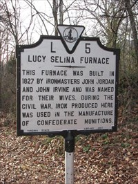 This historic marker stands near the furnace ruins