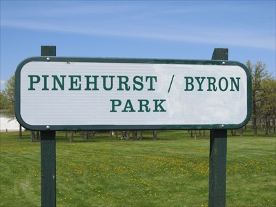 The sign is located at the west Pinehurst Crescent entrance.