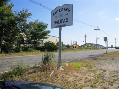 This is the sign on the Halifax-East Bridgewater town line on Route 106.