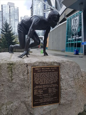 Statue outside the entrance to the Hall of Fame