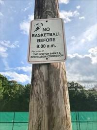 No ball before 9:00AM per parks and rec