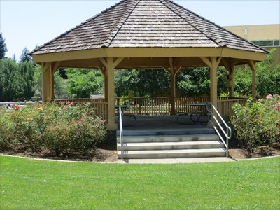 This gazebo is just south of the Folsom Library.