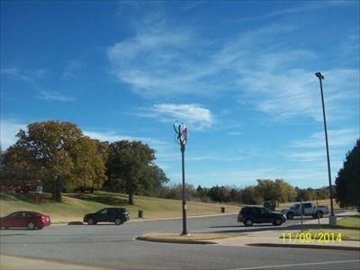 Here is a long shot of the Spirit Pole, so you can see it in context.