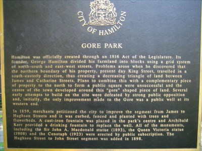 This plaque details the creation of Gore Park, and the features within.