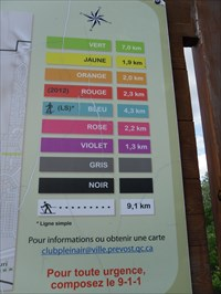Gros plan sur les couleurs des sentiers et les Km associés.  Focus on color trails and associated Km.