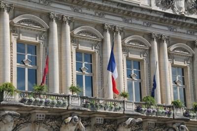 Vue des drapeaux de l