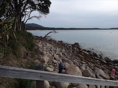 Looking south from the Arakoon campground, beside the Trial Bay Gaol. Rather rocky on the eastern side of Trial Bay.