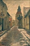 Image for Gadeparti med Klokketårnet i Faaborg af Albert Gottschalk - Faaborg - Danmark