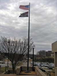 Jefferson City's flag flys proudly with emphasis on the Capitol Dome and the Missouri River's waters.