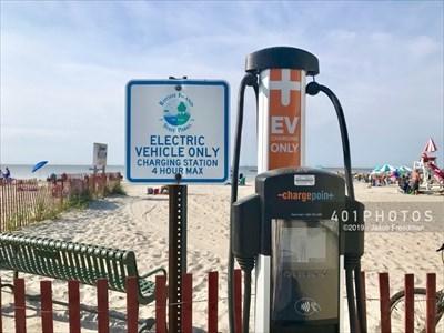 Dual port electric charging station at Salty Brine State Beach in Narragansett, Rhode Island