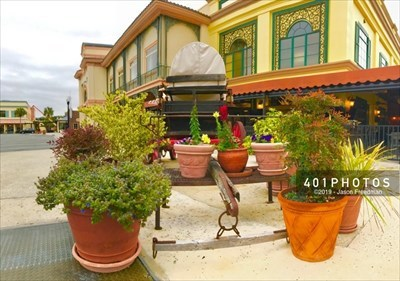 Front view with potted plants