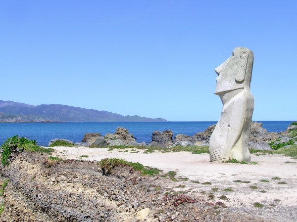 Easter island moai on the wellington coast negle Gallery