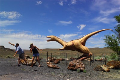 While visiting the Ginkgo Petrified Forest we got chased out of the park by the prehistoric dwellers.  N 46° 57.167 W 119° 59.328