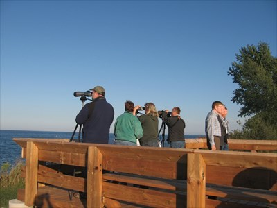 Bird-watchers using the newly opened viewing platform at Fifty Point. September 24, 2014. Photo by Bon Echo