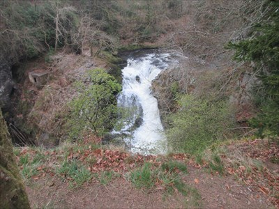 Overhead view of the waterfall from the path.