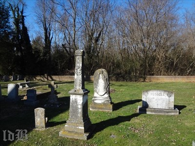 Cornelius Turner, 19th century owner of Belle Grove who donated land for Emmanuel Church, is buried in the churchyard. His tombstone is the one in the middle of this photo with the curved top.