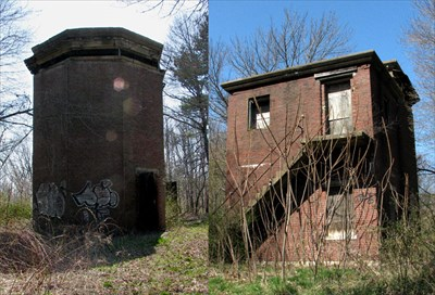 This composite image shows the front (left side) and the rear (right side) of the brick fire control tower. The lower floor is open, but the upper story has been closed to protect against vandalism.