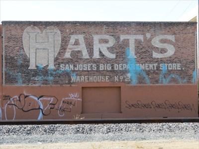 Hart's Warehouse Sign Across Railroad Tracks, San Jose, CA