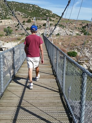 My husband heading out on the suspension bridge.