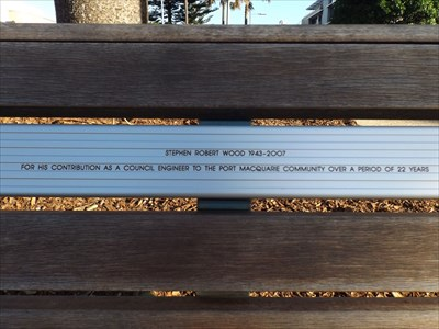 Close-up of the inscription for the Dedicated Bench. 1606, Thursday, 13 April, 2017