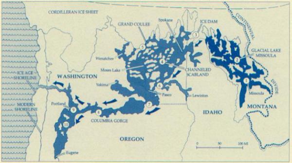 Scablands Washington Map.Wallula Gap And The Missoula Ice Age Flood Washington Glacial