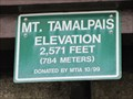 Image for Mt. Tamalpais Elevation Sign - Marin County, California