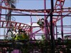 Detail of the spinning-car roller coaster called the Spider.