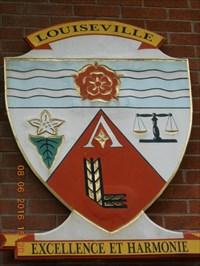 Emblème de la ville de Louiseville.  Emblem of the town of Louiseville.
