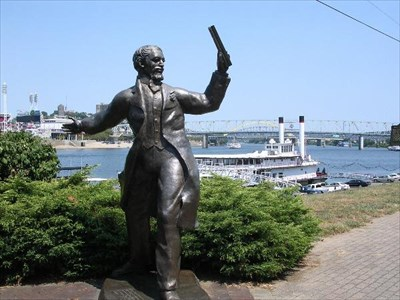 nearby statue of the man