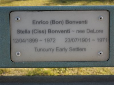 The plaque on the plastic bench backrest, next to Wallis Lake, Tuncurry. 1508, Friday, 12 August, 2016