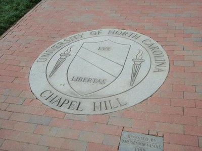 UNC Chapel Hill Seal -- located on North center of Polk Place