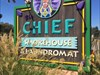 Cheif Smokehouse and Laundromat Sign, Laytonville, California