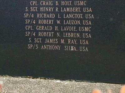 Vietnam Veterans' War Memorial, Worrell Street,  Woonsocket, Rhode Island. This is the fourth, final and largest stone in the monument. It lists 17 men who died during the War. The last name was incorrectly engraved...then corrected...sort of.Anthony Silva...or Anthony Silba?