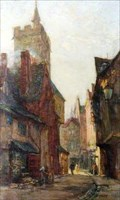 "Image for ""View of the Clock Tower from French Row, St Albans"" by Henry Mitton Wilson – French Row, St Albans, Herts, UK"