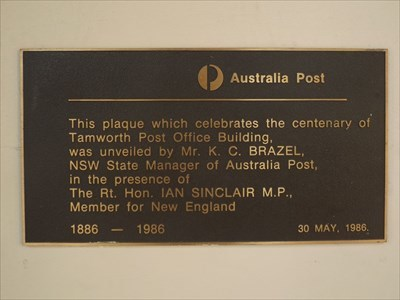 The Commemorative plaque on the Post Office wall.1629, Sunday, 17 April, 2016
