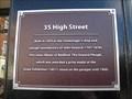 Image for 35 High Street Plaque - Bedford, Bedfordshire, UK