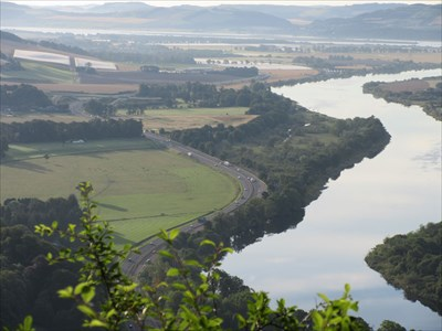 The A90 dual-carriageway and the River Tay from Kinnoull Hill.