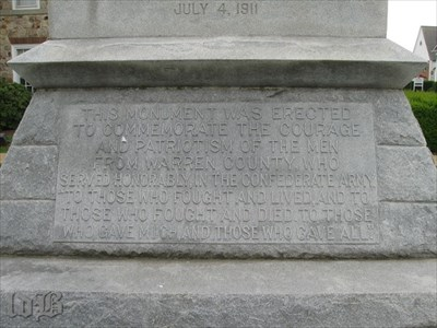 Inscription on front base commemorating the men of Warren County who served in the Confederate army.