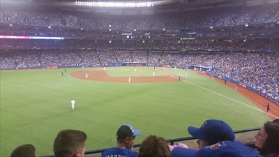 Left Field Seats, roof closed.