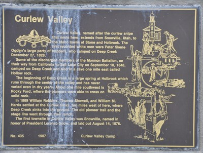 Curlew Valley - Utah Historical Markers on Waymarking com