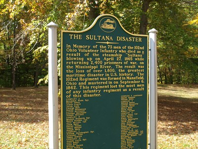The Sultana Disaster - Mansfield, OH - Maritime Monuments