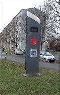 Image for Time & Temperature sign in Saalfeld, Thuringia, Germany