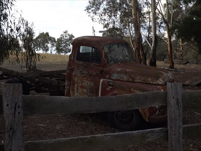 Side view of the rusty Dodge truck. 1824, Thursday, 8 February, 2018